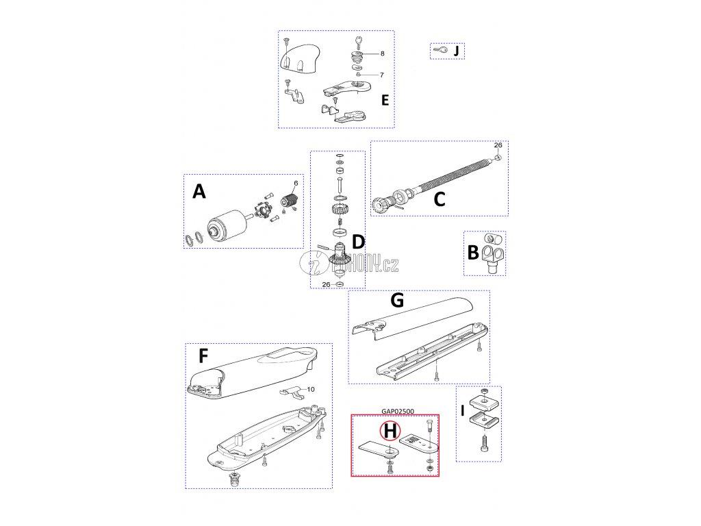 Přední a zadní konzole pro pohony WG2024/ WG4000 - 2 páry - GAP02500