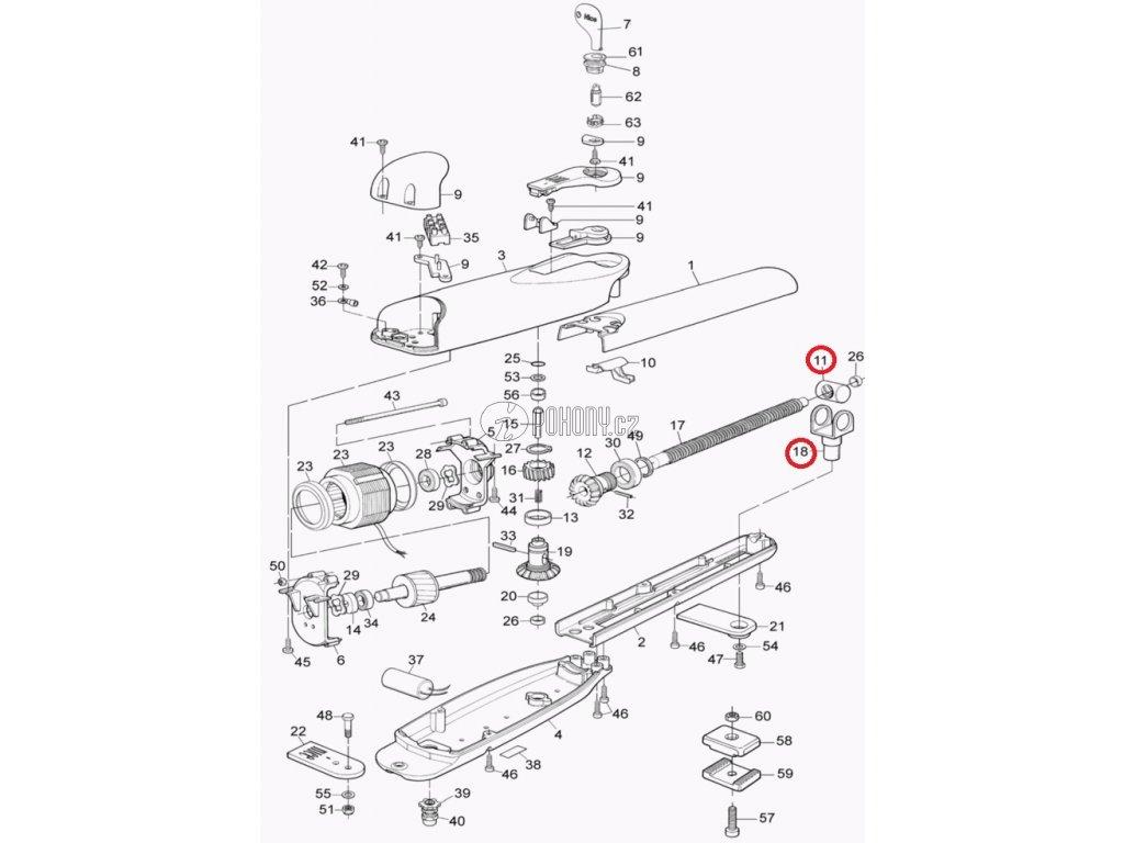 Vidlice s mosaznou maticí 6závitová pro pohony  WG4000, MOBY - PRMB05A