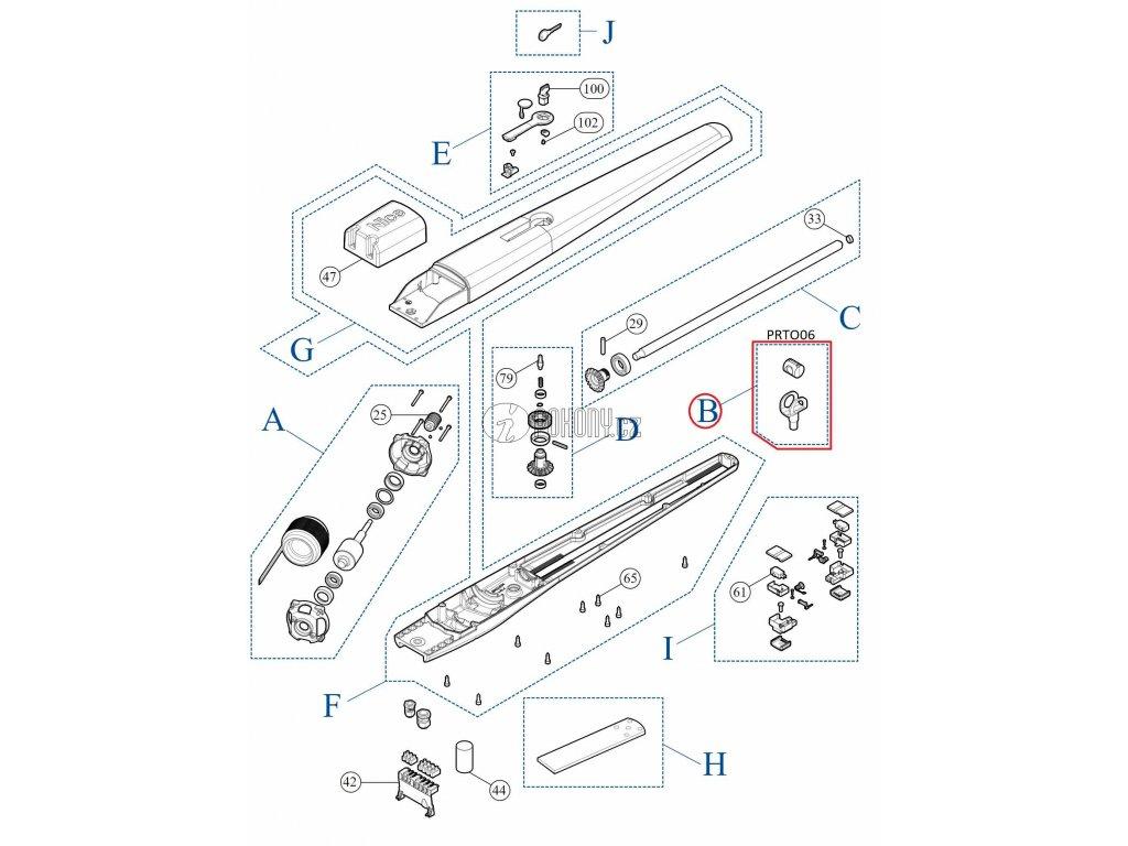 Vidlice s mosaznou maticí pro pohony TOONA - PRTO06