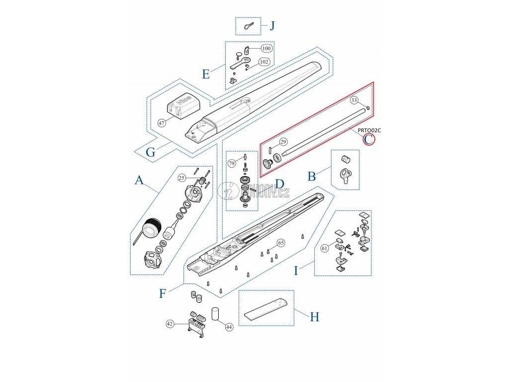 Pohybová závitová tyč pro pohony TOONA - PRTO02C