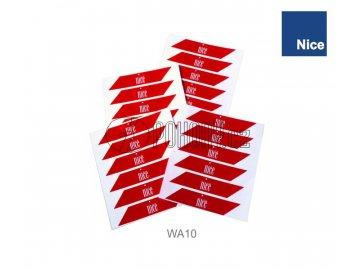 NICE WA10 - Reflexní červené samolepky 24ks