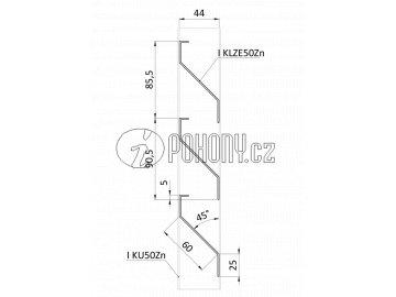 Plotová zinkovaná lamela, Z profil, 23x60x25x1,5 mm s vyztuženou hranou 10 mm, délka 4m