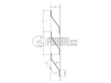 Plotová lamela, Z profil, 20x40x20x1,5 mm, délka 2m
