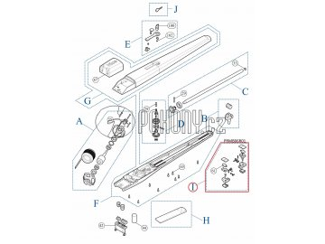 Sada mechanického dorazu s mikrospínačem, pružinkou a káblíkem pro TOONA a MOBY - PRMB06R01