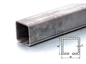 C60x60mm - nosný c profil samonosné posuvné brány - délka 3m
