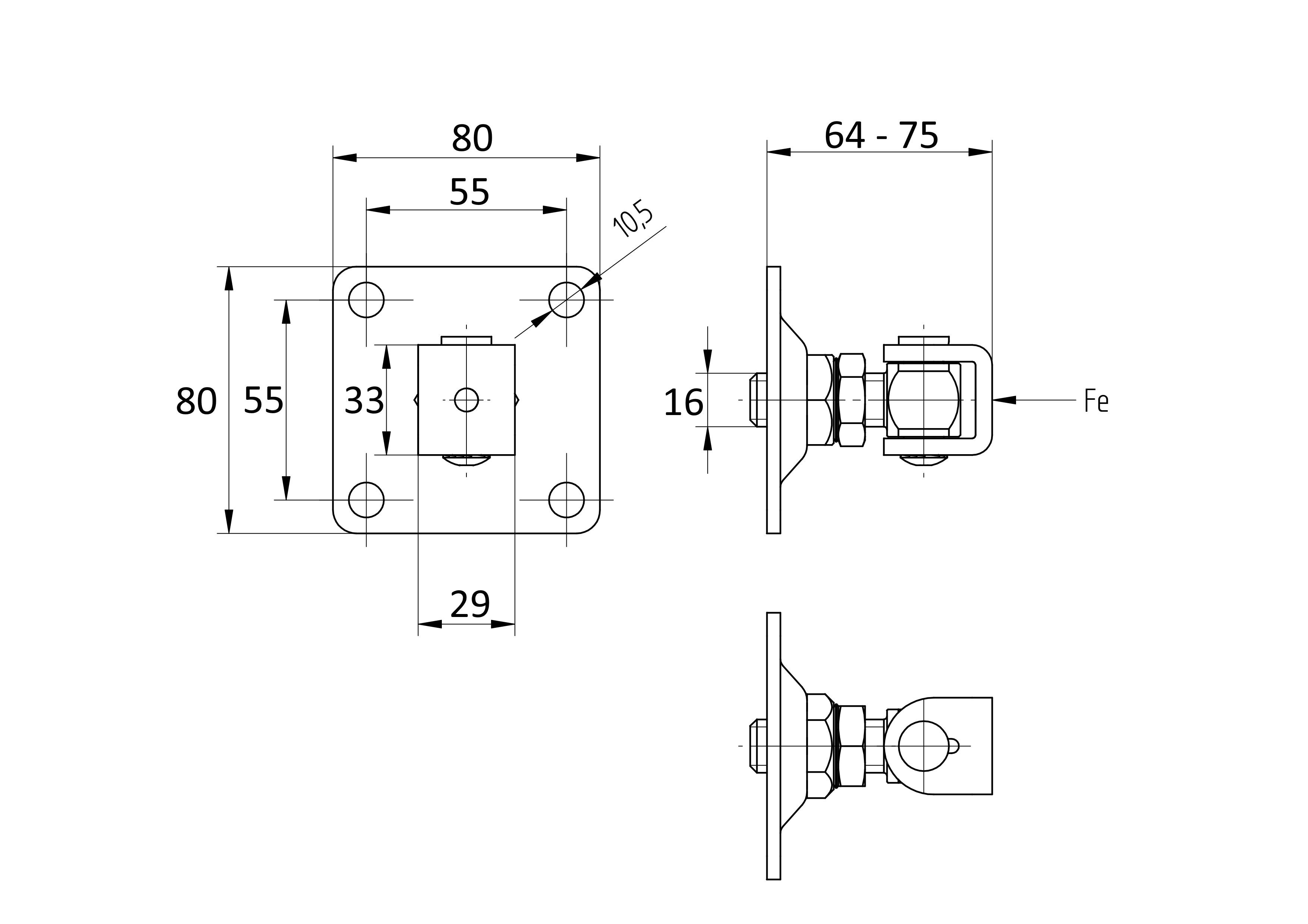 Stavitelný pant k přišroubování D4/53/M16