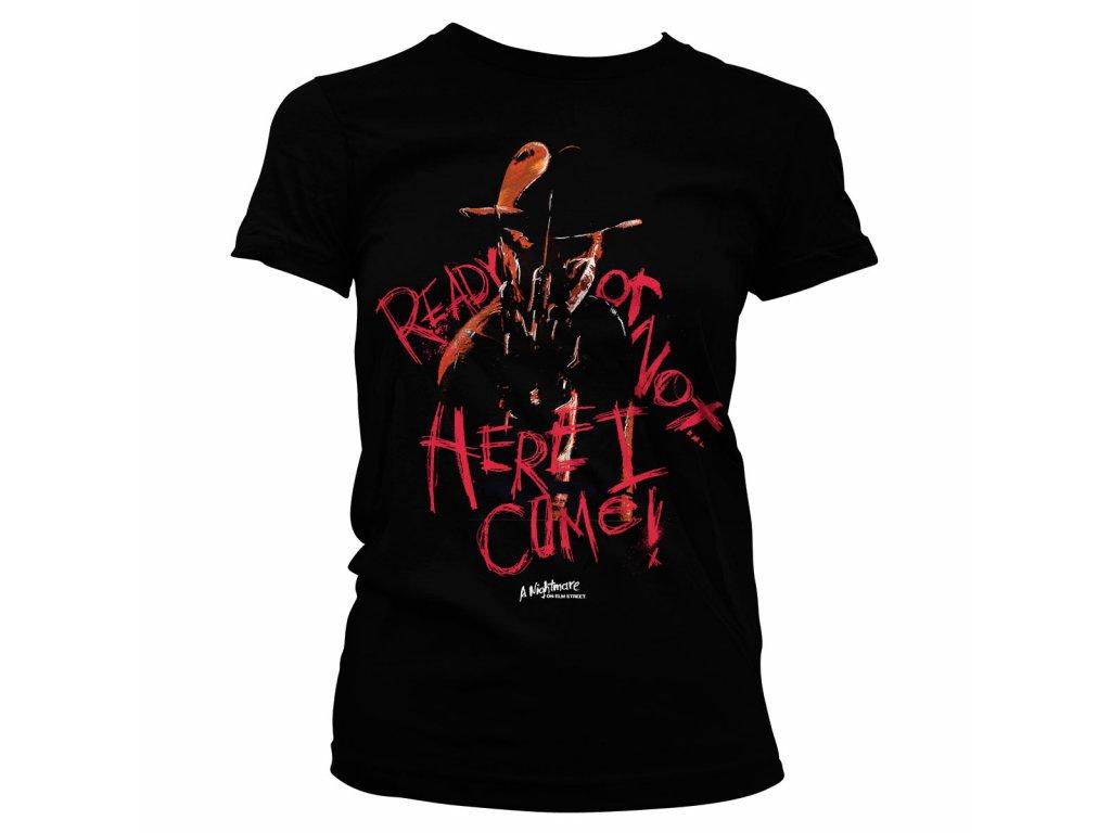 Dámské tričko A Nightmare On Elm Street Here I Come (Výběr velikosti XXL)
