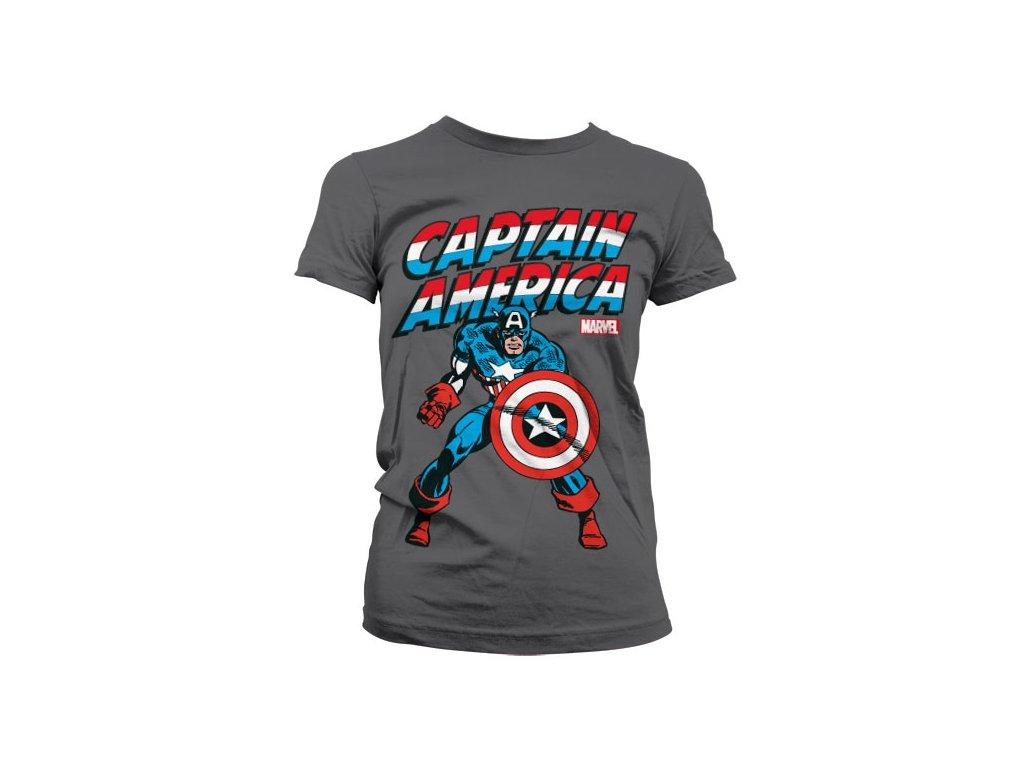 Dámské tričko Captain America (Barva Žlutá, Velikost XXL)