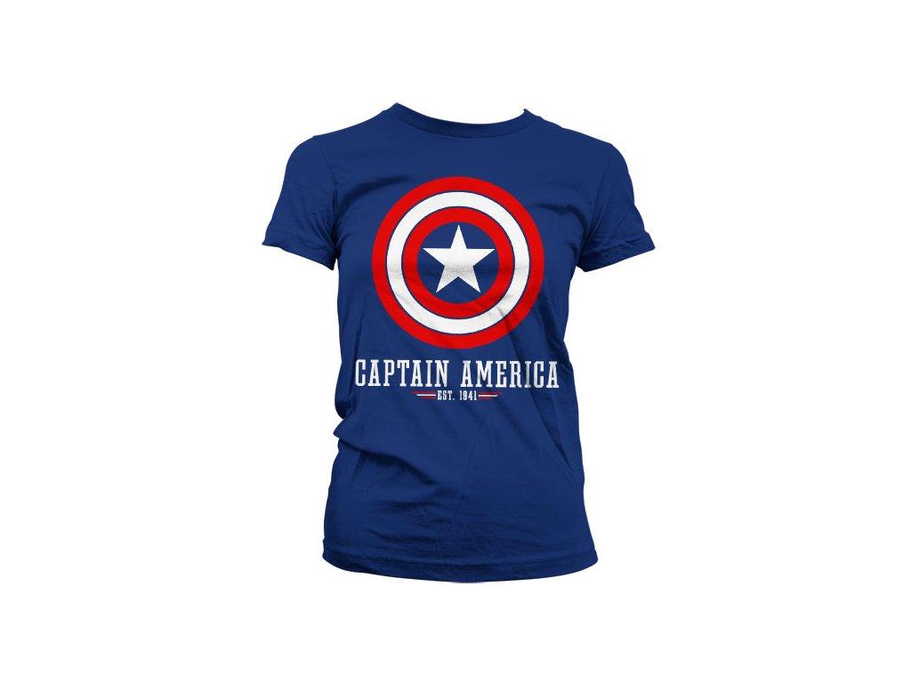 Dámské tričko Captain America Logo (Barva Černá, Velikost XXL)