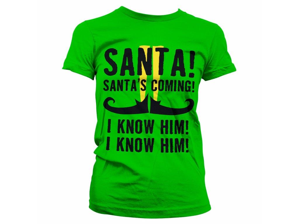Dámské tričko Elf Santa's Coming (Výběr velikosti L)