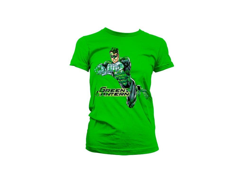 Dámské tričko Green Lantern Distressed (Výběr velikosti XL)
