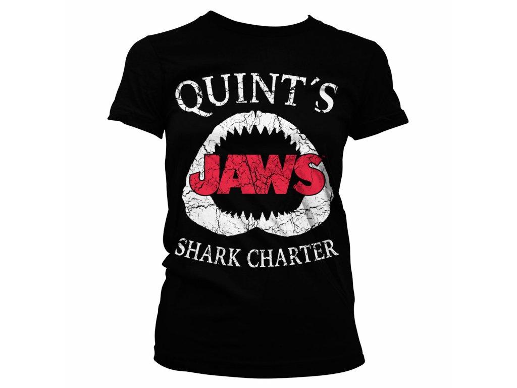 Dámské tričko Jaws Quint´s Shark Charter (Barva Šedá, Velikost XXL)