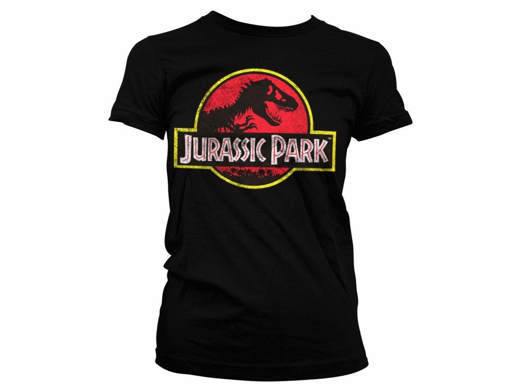 Dámské tričko Jurassic Park Distressed Logo (Barva Žlutá, Velikost XXL)
