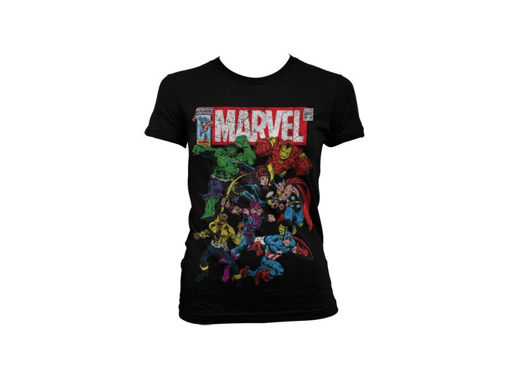 Dámské tričko Marvel Team-Up (Barva Zelená, Velikost XXL)