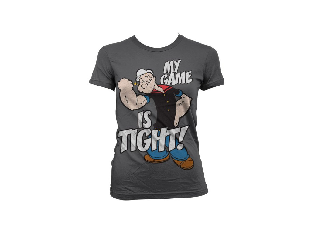 Dámské tričko Popeye - Game Is Tight (Barva Zelená, Velikost XXL)