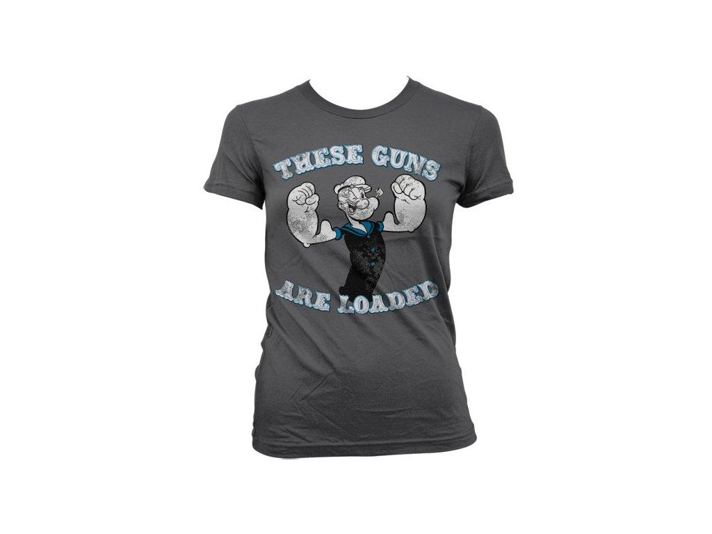 Dámské tričko Popeye - These Guns Are Loaded (Barva Růžová, Velikost XXL)