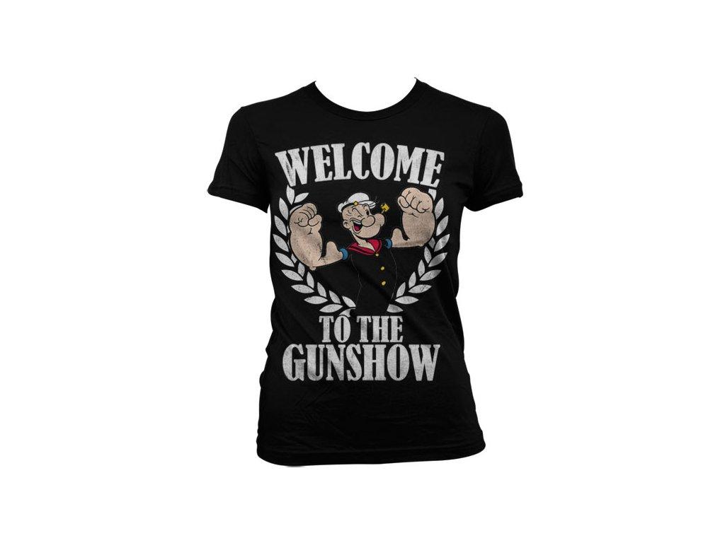 Dámské tričko Popeye - Welcome To The Gunshow (Barva Zelená, Velikost XXL)