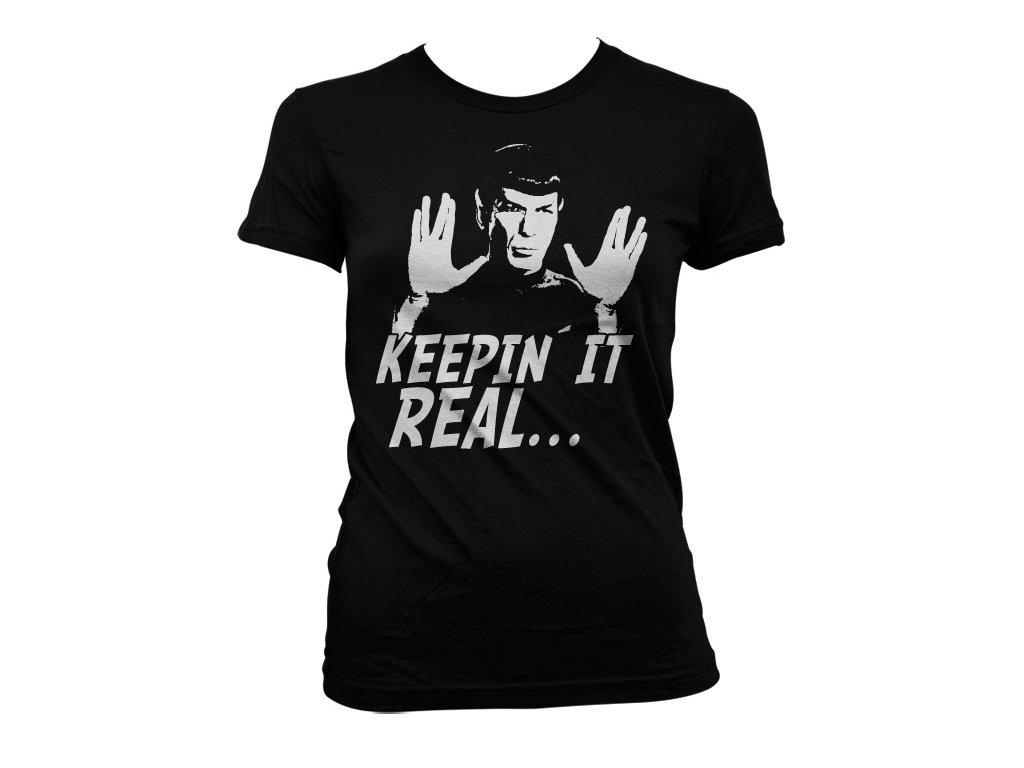 Dámské tričko Star Trek - Spock Keepin´ It Real (Barva Zelená, Velikost XXL)