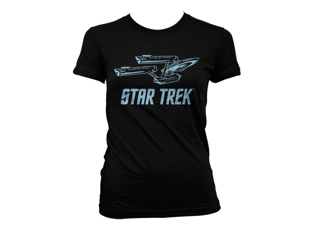 Dámské tričko Star Trek Enterprise Ship (Barva Šedá, Velikost XXL)
