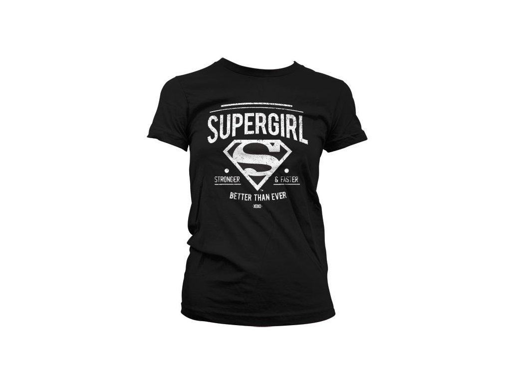 Dámské tričko Supergirl Strong & Faster (Výběr velikosti XXL)
