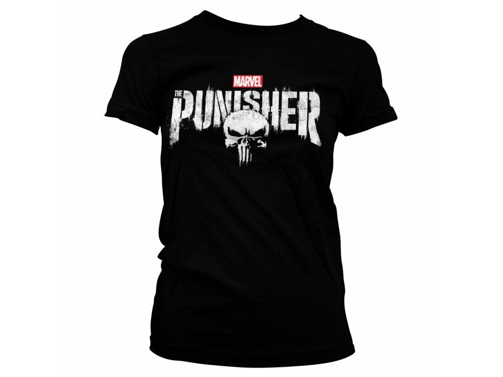 Dámské tričko The Punisher Distressed Logo (Barva Šedá, Velikost XXL)