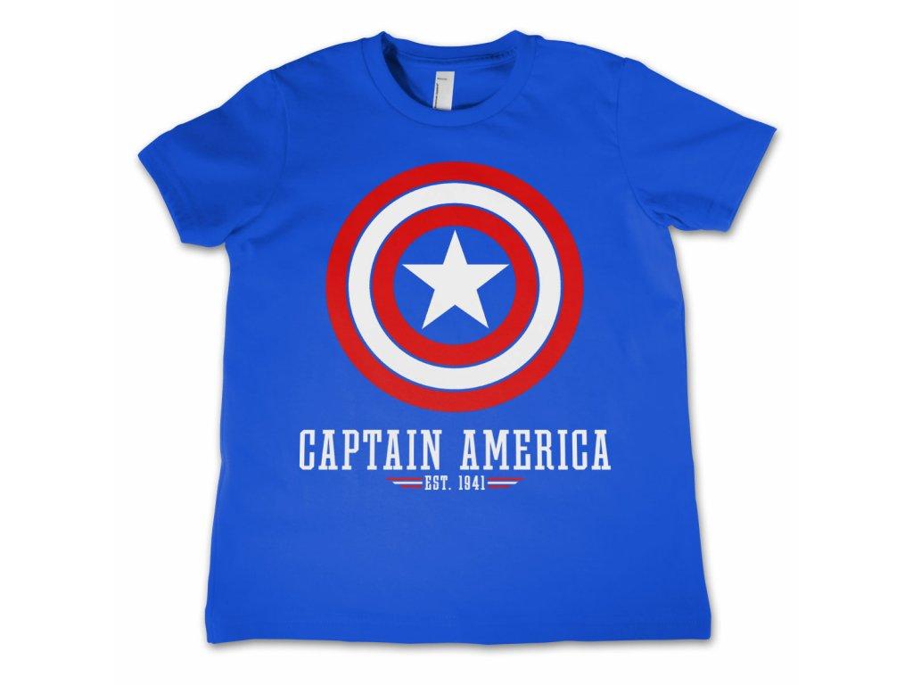 Dětské tričko Marvel Comics - Captain America Logo (Dětské velikosti 12 rokov, Barva Modrá)