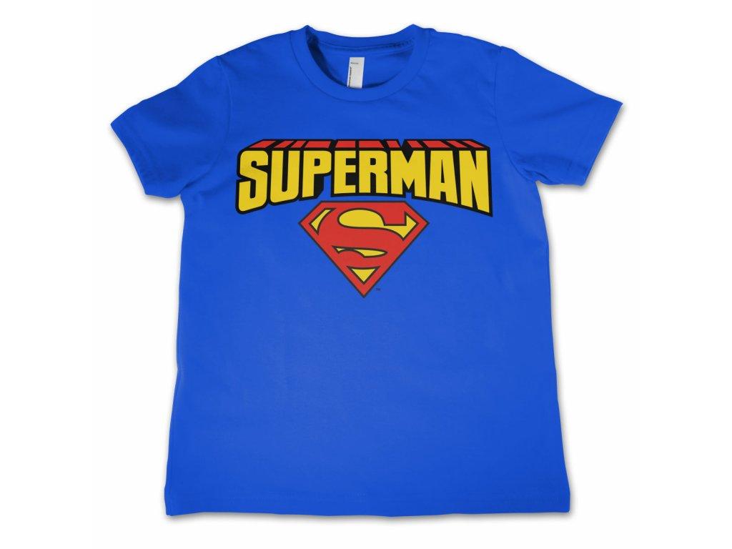 Dětské tričko Superman Blockletter Logo (Dětské velikosti 12 rokov, Barva Modrá)