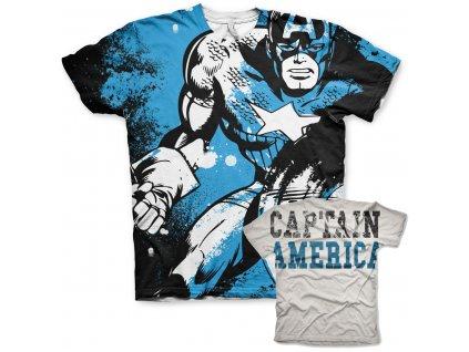 Captain America Allover T-Shirt (Výběr velikosti XXL)