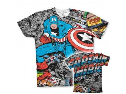 Captain America Comic Allover T-Shirt (Výběr velikosti XXL)