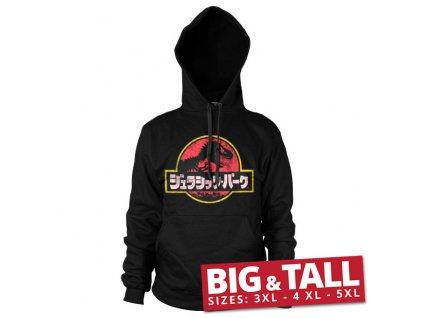 Pánská mikina Jurassic Park Japanese Distressed Logo Big & Tall (Výběr velikosti XXXXXL)