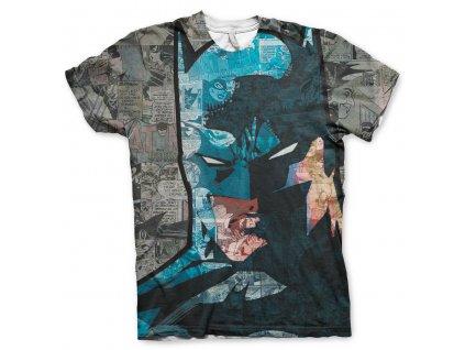 Pánské tričko Batman Face-Up Allover (Výběr velikosti XXL)