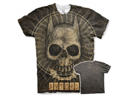 Pánské tričko Batman Gothic Skull Allover (Výběr velikosti XXL)