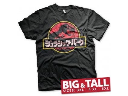 Pánské tričko Jurassic Park Japanese Distressed Logo Big & Tall (Výběr velikosti XXXXXL)