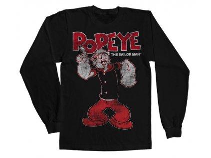 Pánské tričko s dlouhým rukávem Popeye Distressed Sailor Man (Výběr velikosti L)