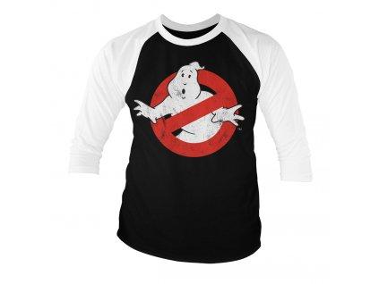 Pánské tričko s tříčtvrtečním rukávem Ghostbusters Distressed Logo (Výběr velikosti XXL)