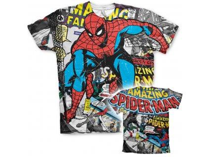 Pánské tričko Spider-Man Comic Allover (Výběr velikosti XXL)