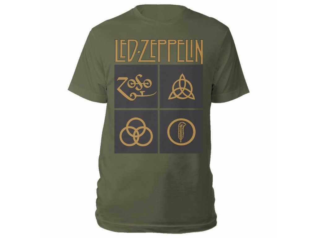 483c0de79d37 Pánske tričko LED ZEPPELIN GOLD SYMBOLS IN BLACK SQUARE OLIVE ...