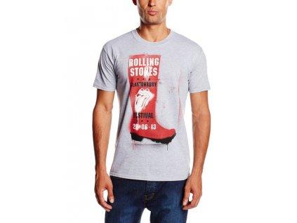 Pánske tričko The Rolling Stones Glastonbury Red Wellie (Veľkosť XL)