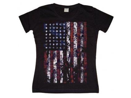 Distressed USA Flag Girly T- shirt