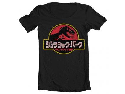 Pánske tričko Jurassic Park Japanese Distressed Logo Wide