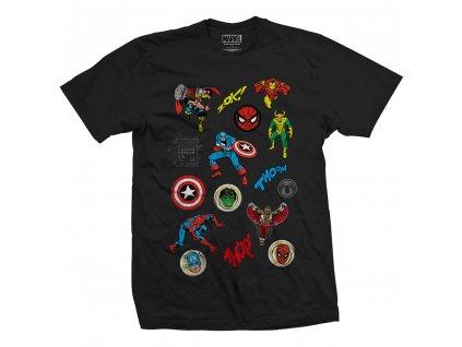 Pánske tričko MARVEL RANDOM BADGES (Veľkosť XXL)