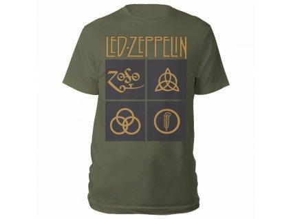 Led Zeppelin Gold Symbols In Black Squares Olive Tee RTLZETSOGGOL