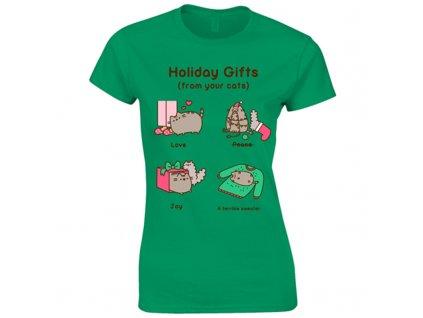 Dámske tričko PUSHEEN HOLIDAY GIFTS (Veľkosť XXL)