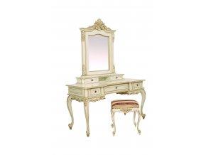 Ložnice Royal toaletka s taburetem (Bílá patina)