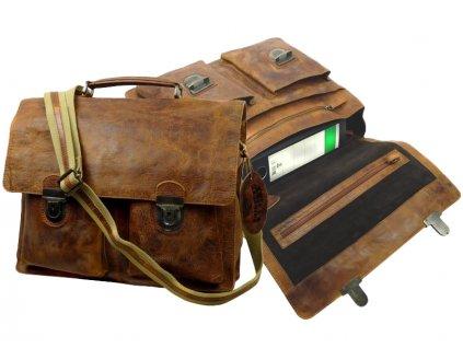 Kožená taška cez rameno - aktovka - Landleder Rugged-Hide June (Briefcase-Flesize Unisex)