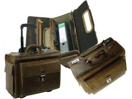 Kožená cestová taška na kolieskach - Landleder Grassland Air2 (Business-Pilotcase)