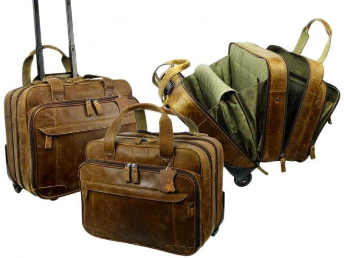 Kožená cestová taška na kolieskach - Landleder Grassland Air1 (Business-Flightcase)