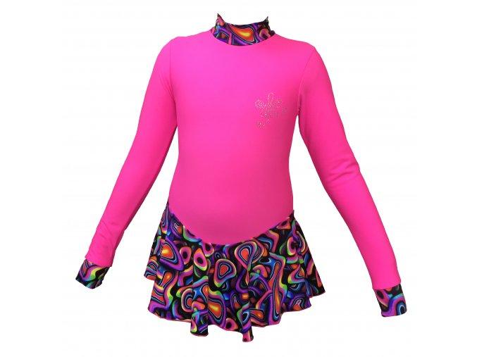 Krasobruslařské THERMO šaty ICEDREAM - neon růžové