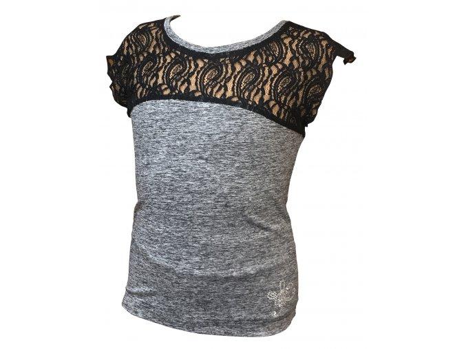 Tričko ICEDREAM s krajkou - šedý melír