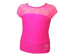 Tričko ICEDREAM s krajkou - neon růžové